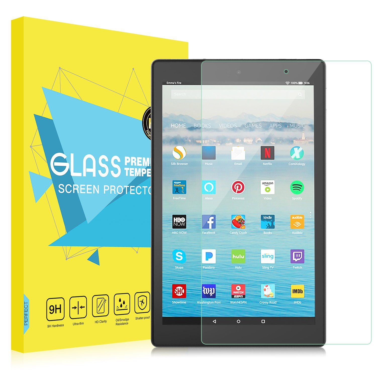 """Fire HD 10 2017 Screen Protector, MoKo [Scratch Terminator][Full Coverage] Premium HD Clear 9H Hardness Tempered Glass Tablet Screen Protector Film for Amazon Fire HD 10"""" (7th Gen - 2017 Release)"""