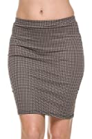 TheLovely Houndstooth Print Stretch Waist Pencil Straight Bodycon Knit Mini Skirt