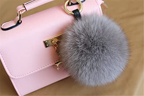 e64a7a09ac06 Image Unavailable. Image not available for. Color  HEARTFEEL Real Fox Fur  Pom Pom Ball Keyring Bag Purse ...