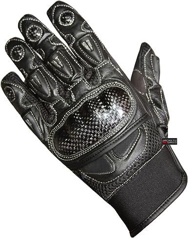 Men/'s Motorcycle Mesh /& Leather Carbon Fiber Cruiser Ventilated Biker Gloves