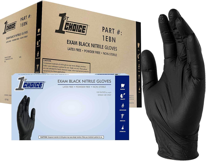 1st Choice Black Nitrile Exam Gloves, 3 Mil, Powder Free, Textured, Disposable