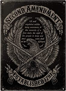 """This Well Defend Second Amendment Eagle 11"""" x 16"""" Metal Tin Sign Wall Art Home Decor Man Cave 2nd USA"""