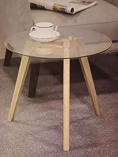 Homestyle4u 1822 Beistelltisch Glas Holz 2 Er Set Rund Tisch Groß