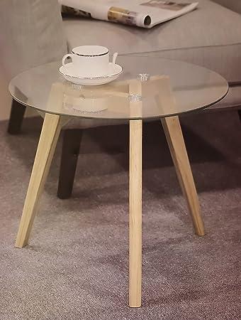 Design Glas Beistelltisch 45 cm - Glastisch Couchtisch Holz Tisch ...