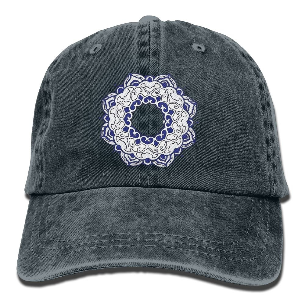 Blue and White Trend Printing Cowboy Hat Fashion Baseball Cap For Men and Women Black