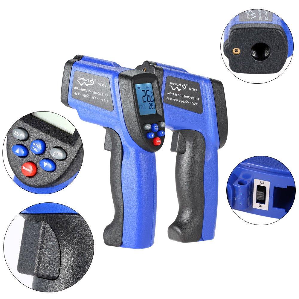 bater/ía no incluida KKmoon probador de temperatura pir/ómetro en /°C//F L/áser IR 50-900//°C LCD term/ómetro infrarrojo sin contacto digital con retroiluminaci/ón
