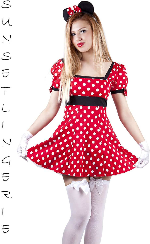 Disfraz de Minnie Mouse para mujer, tallas de la 36 a la 44 (S, M ...