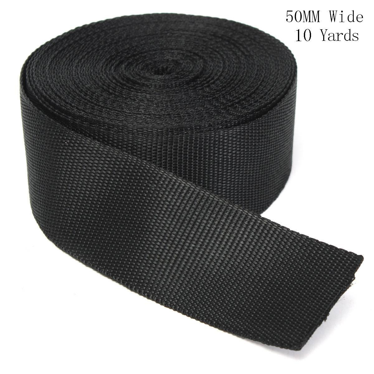 RETON Black Nylon Heavy Polypro Webbing Straps (15MM, 10 Yards)