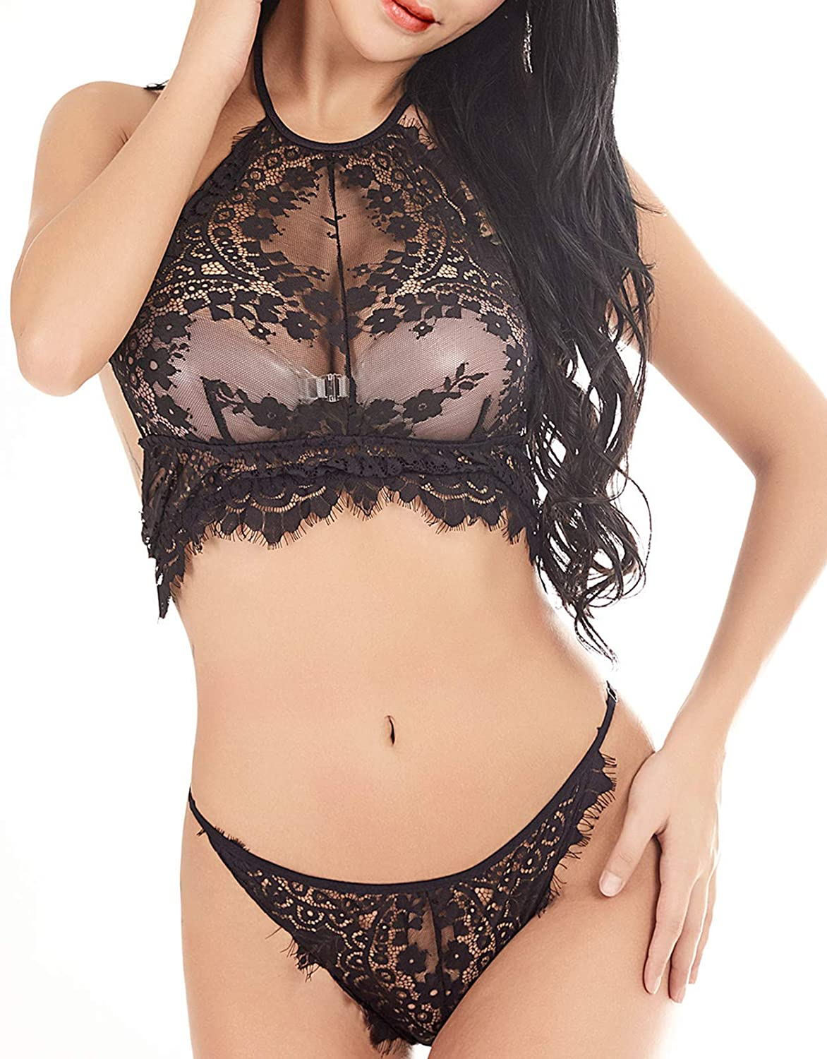b16d9e535e PUT YOUR BODY IN A TOTALLY RELAXED STATUS  Eye Patch Lace Bralette and  panty set