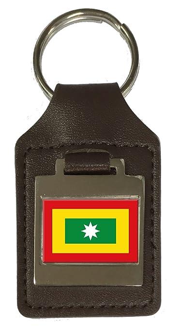 Amazon.com: Llavero de cuero grabado con la bandera de la ...