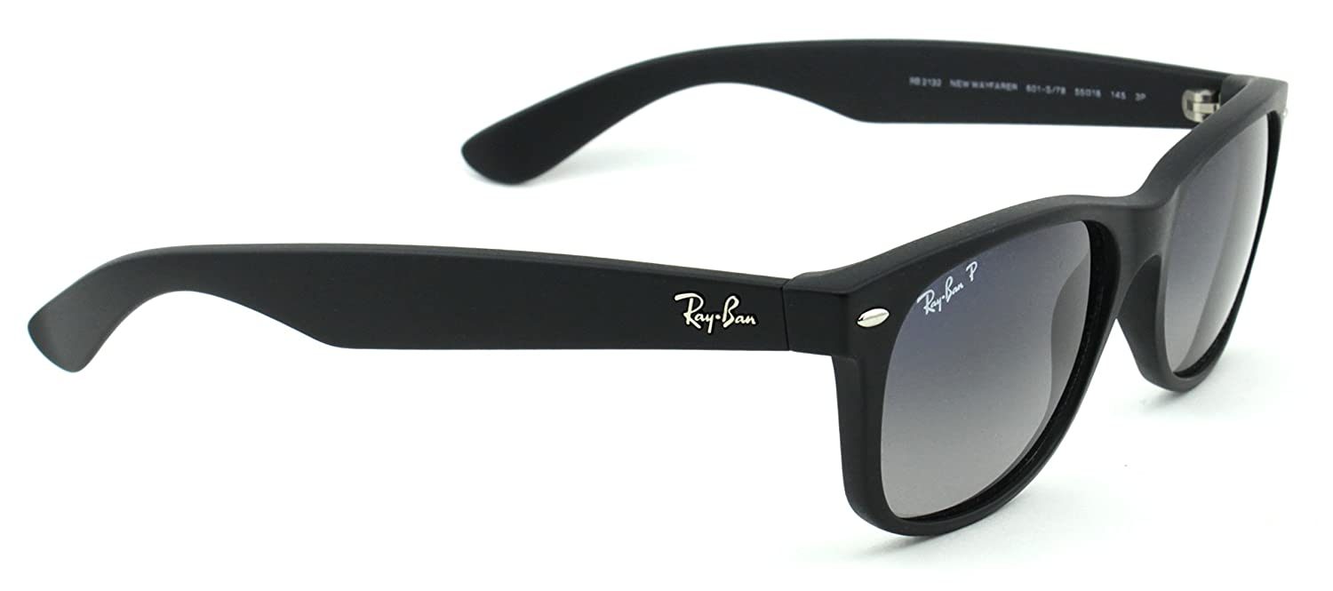 6552aab888 Amazon.com  Ray-Ban RB2132 601S78 Wayfarer Black   Polarized Blue Gradient  Lens 52mm  Clothing