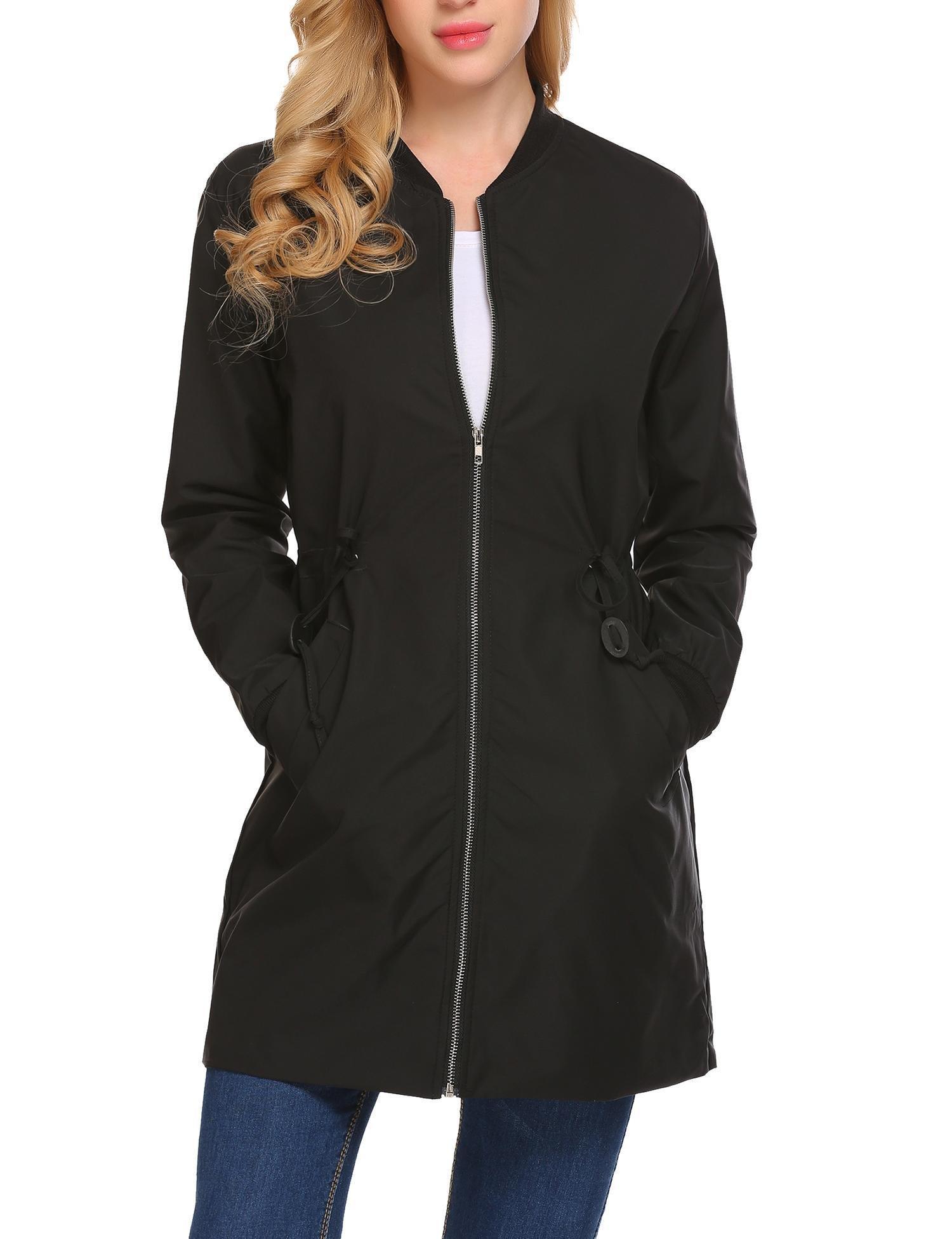 ELESOL Ladies Zipper Lightweight Long Sleeve Loose Coat Windbreaker Jacket Black/XL