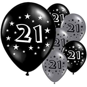 10 Black And Silver 21st Birthday Party Balloons Amazoncouk Toys Games