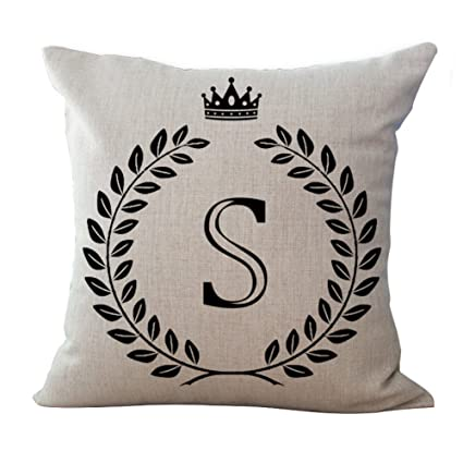 Amazon Luxsea Letter Alphabet Printed Cotton Linen Pillowcase Enchanting How To Use Decorative Pillows