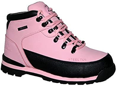 NEW LADIES SAFETY BOOTS LEATHER HIKING STEEL TOE CAP WOMANS NAVY WORK TRAINERS