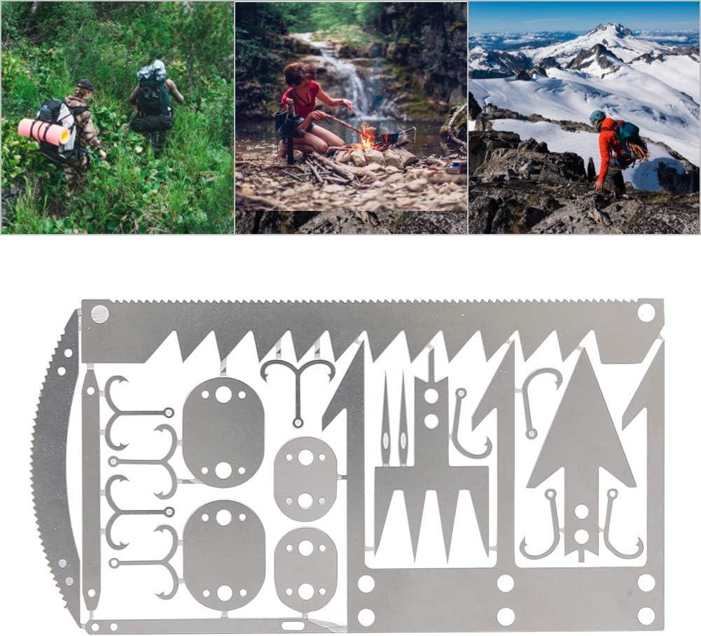 Notfall-Set Jagd Wandern Atyhao Survival-Karte Camping aus Edelstahl handgefertigt Survival-Werkzeug f/ür Angeln 2 St/ück