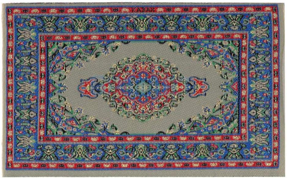 dljztrade Alfombra De Pavo En Miniatura Alfombra De Seda Artificial 1/12 Casa De Muñecas Decoración De Piso Muebles Accesorio Azul