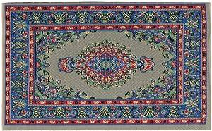 interjunzhan Miniature Turkey Carpet Soft Artificial Silk Rug 1/12 Doll House Floor Decor Furniture Accessory Blue
