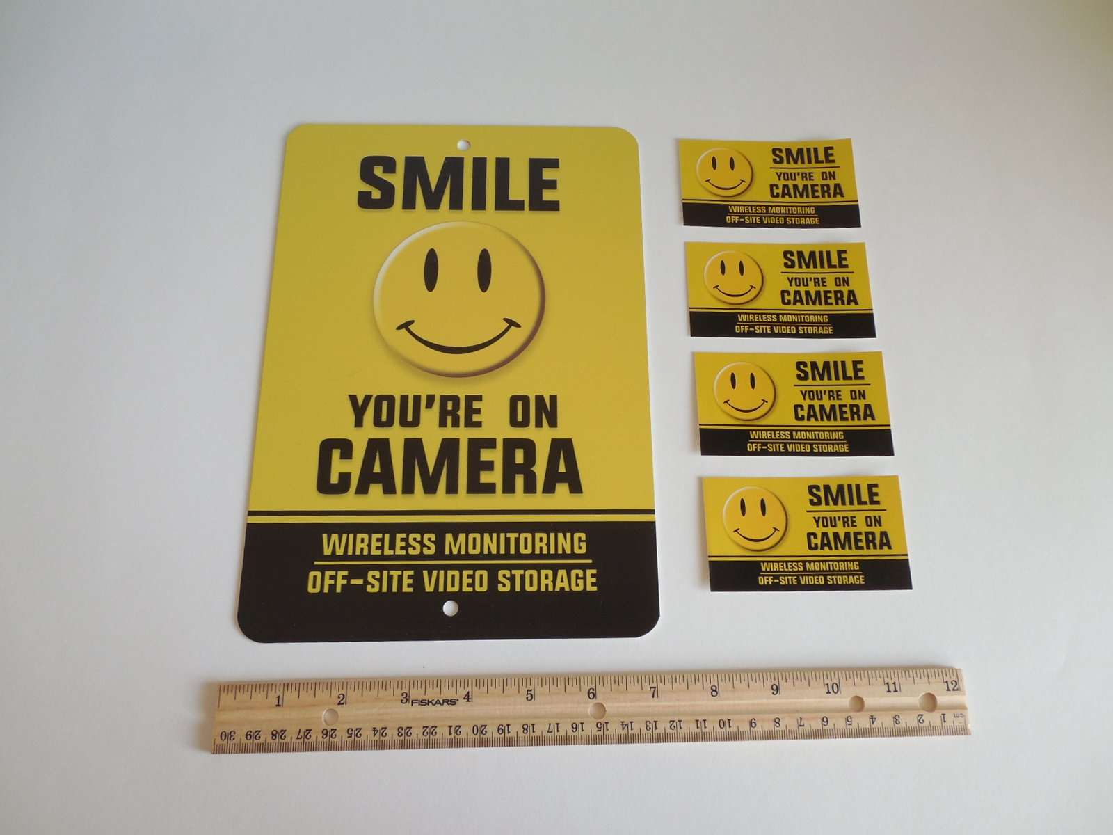 Security Signs Smile You're On Camera Video Surveillance Warning Metal 4 Window Stickers # 722