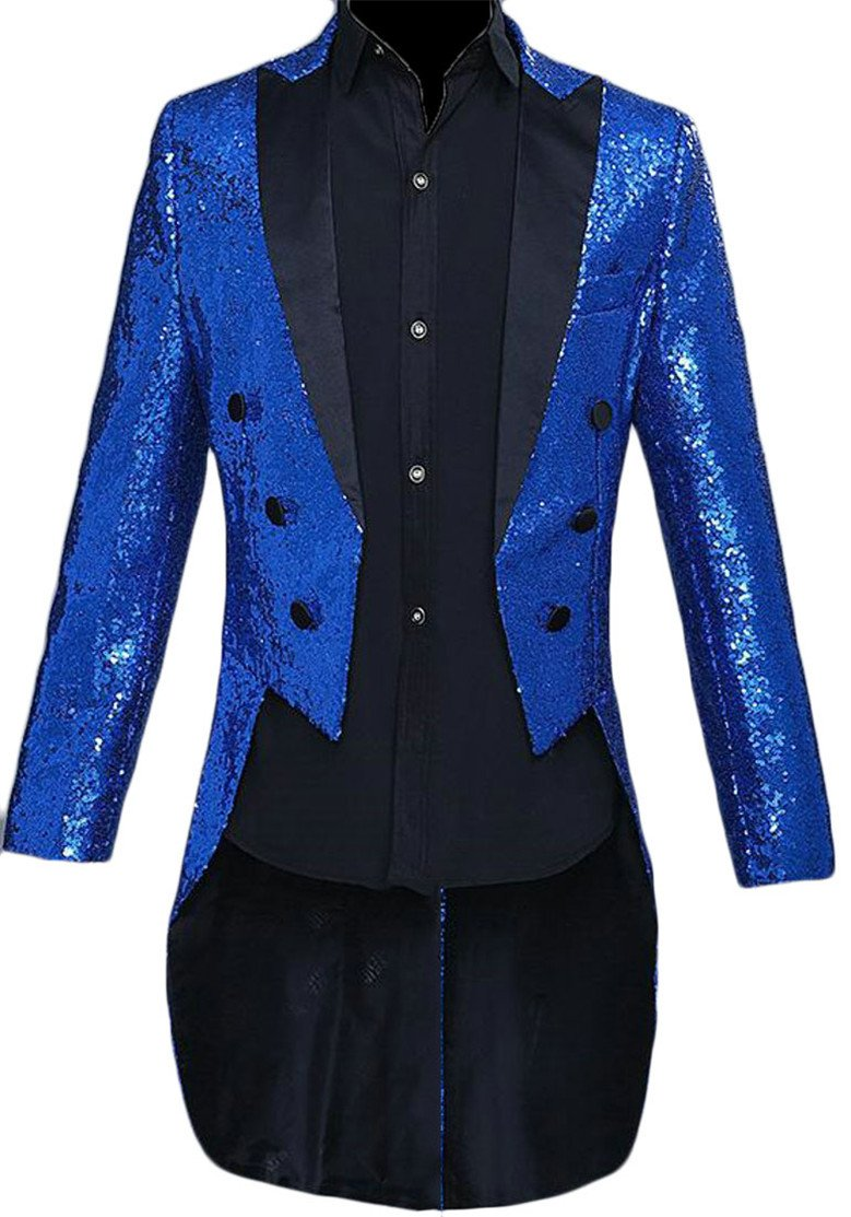 Cromoncent Men's Double-Breasted Performance Sequins Irregular Blazer Jacket Jewelry Blue XL