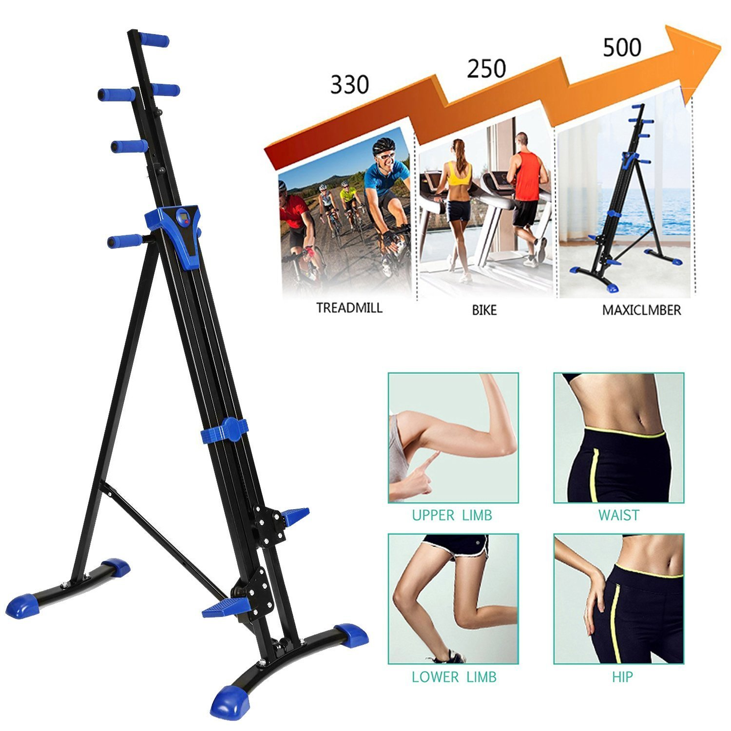 Kemanner Vertical Climber Folding Exercise Climbing Cardio Machine for Home Gym (US Stock) by Kemanner