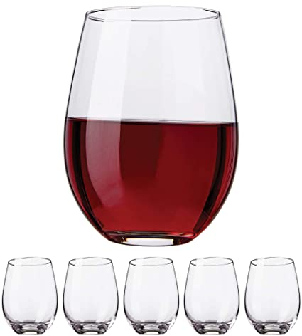 4c8349aacdf Kitchen Lux Stemless Wine Glasses, 18oz – Set of 6 Elegant Cocktail  Tumblers – Premium Glass Drinking Cups – Deluxe Gift Pack - Dishwasher Safe  ...