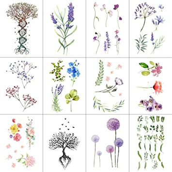 c40698066 Amazon.com : WYUEN 12 PCS/lot Flower Temporary Tattoo Sticker for Women Men Fake  Tatoo Body Art Adult Waterproof Hand Stickers 9.8X6cm W12-04 : Beauty