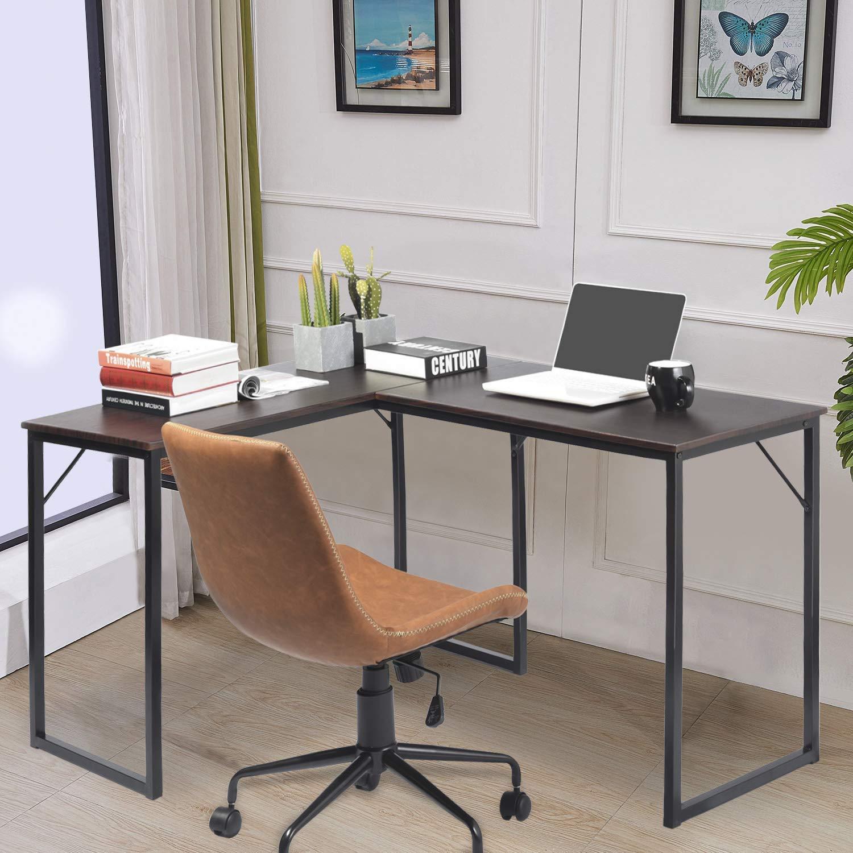 Amazon com espresso l shaped corner desk wooden desktop metal leg home office desk table workstation furniture laptop notebook computer pc study writing