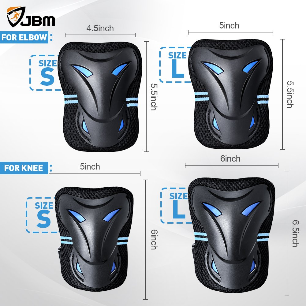 a4671eff52 JBM Multi Sport Protective Gear Knee Pads and Elbow Pads with Wrist Guards  for Cycling