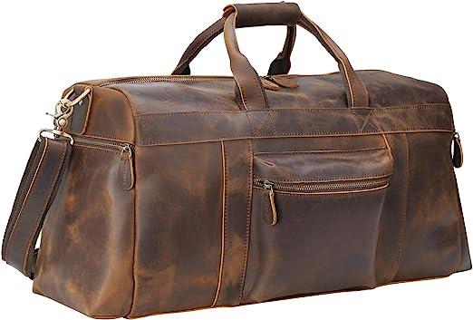 Genuine Leather Outdoor Gym Duffel Bag Travel Weekender Overnight Luggage