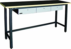 Homak 79-Inch Workbench With 3 Drawers and Wood Top, Steel, GS00579030