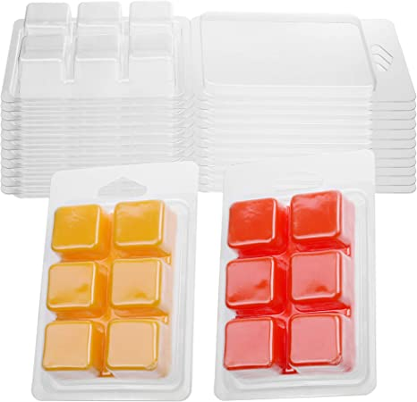 MILIVIXAY Wax Melt Containers-6 Cavity Clear Empty Plastic Wax Melt Molds-50 Packs Round Clamshells for Tarts Wax Melts.