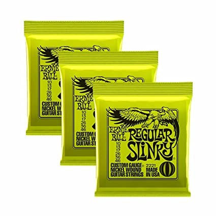Ernie Ball Slinky 2221, 3 Cuerdas 0,010-0,046 Tamaño Regular para Guitarra Eléctrica (