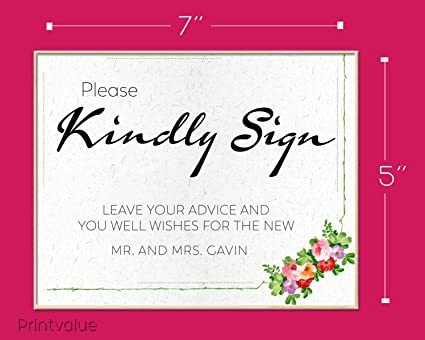 graphic about Free Printable Credit Card Signs identified as : Kindly Signal Playing cards And Presents Marriage ceremony Get together Signs or symptoms