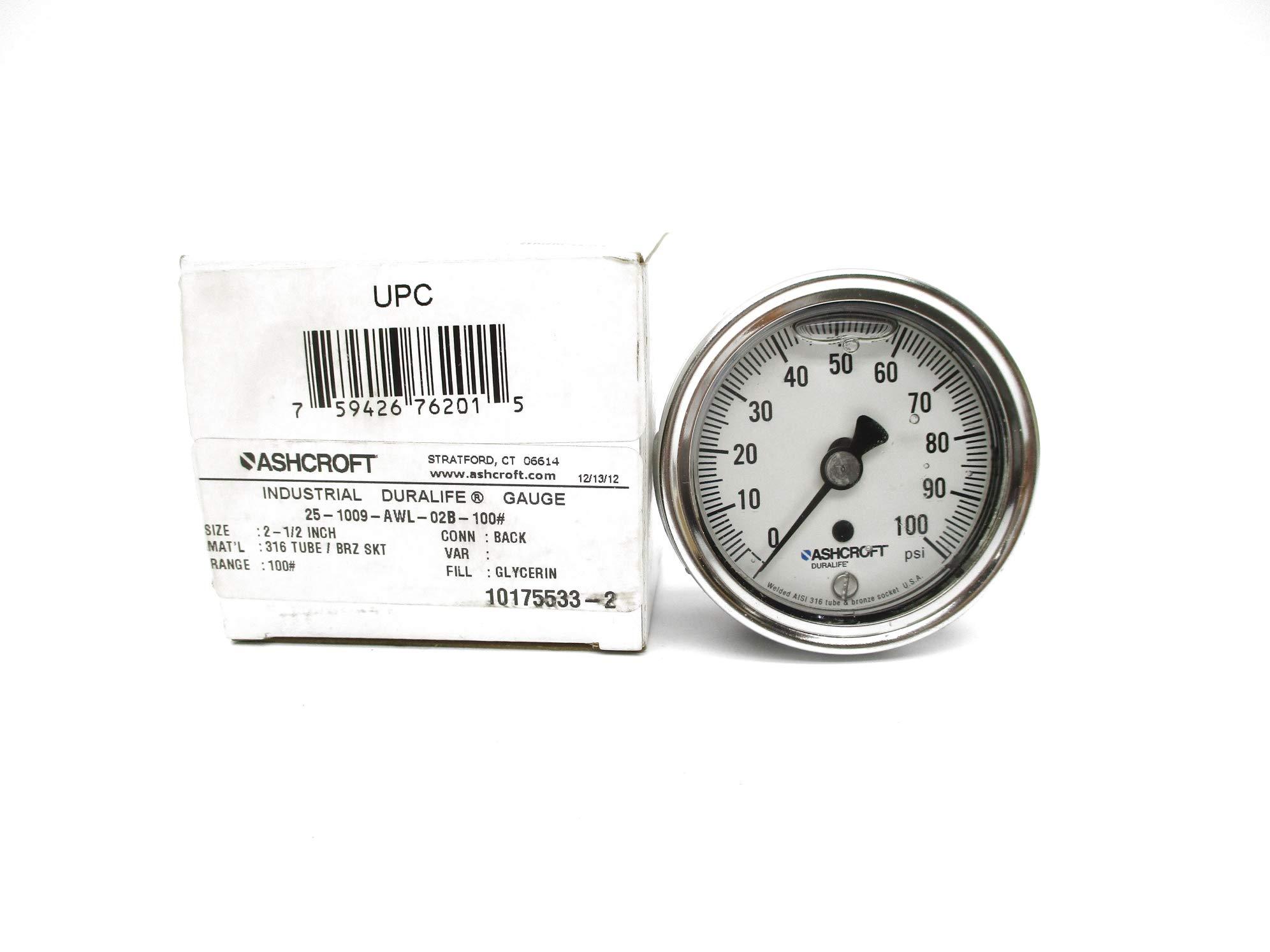 Ashcroft 25-1009-AWL-02B-100# 0-100PSI NSMP by INDUSTRIAL MRO