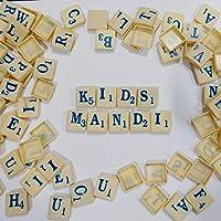 Kids Mandi 100 Plastic Scrabble Letter Tiles - Blue and White Colour - Complete Set