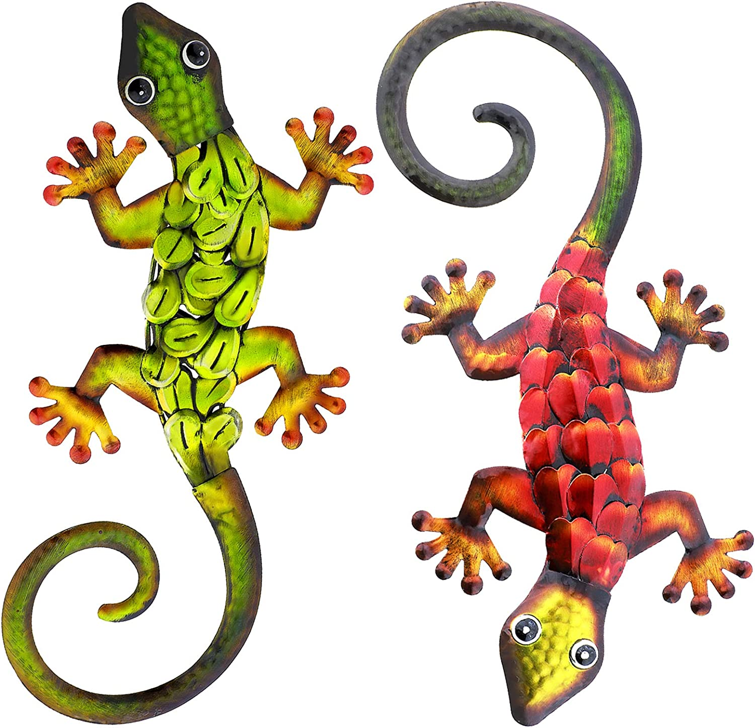 aboxoo 2PCS Metal Gecko Set Wall Decor Large Lizard Sculpture Crafts Inspirational Statue Hanging Art Decoration Ornaments for Outdoor Yard Fence Room Bedroom Kitchen Bathroom Garden Children'S Toy Life Gift (Red, Green)