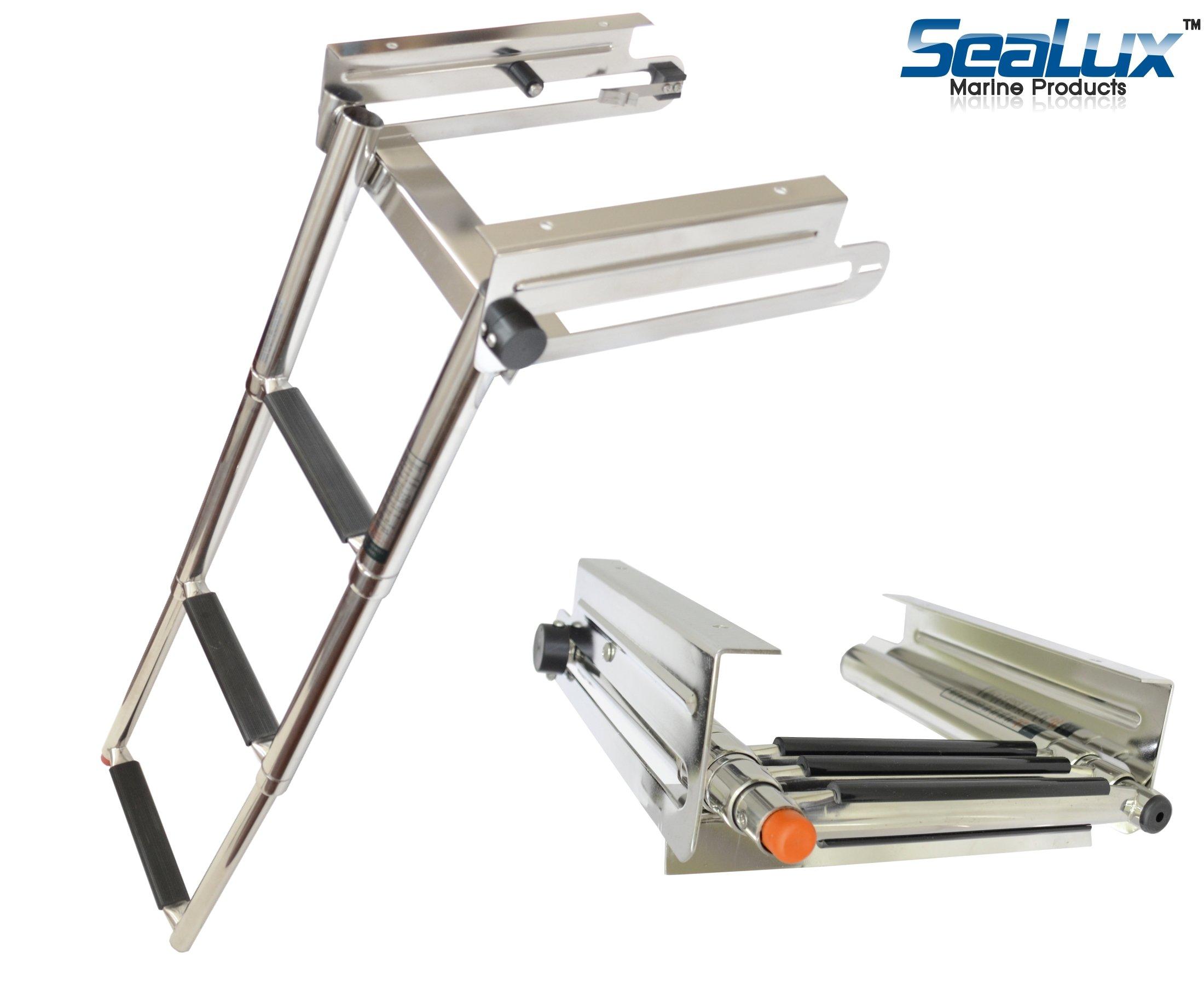 SeaLux Stainless Steel Pop-N-Lock Boarding 3-Step Undermount Sliding Marine Boat Telescoping Swim Ladder by SeaLux Marine Products