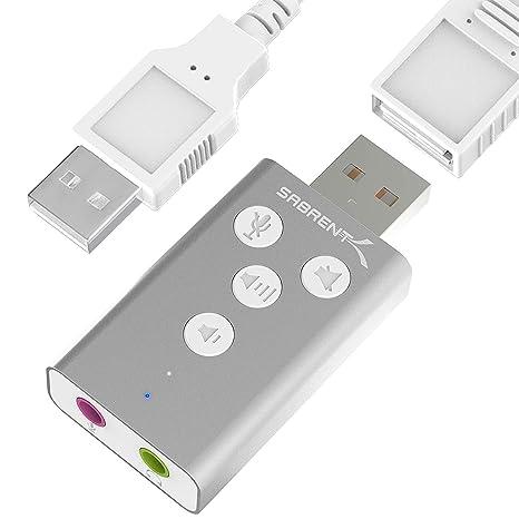 Sabrent Adaptador de sonido estéreo 3D externo USB de aluminio para Windows y Mac. Plug and Play No se necesitan controladores. [Plata] (AU-DDAS)