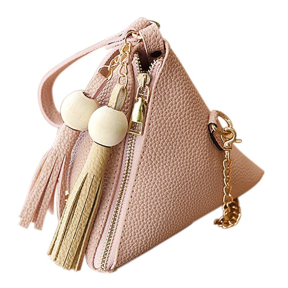 QZUnique Women's PU Leather Clutch Wallet Triangle Wristlet Purse With Wrist Strap Apricot