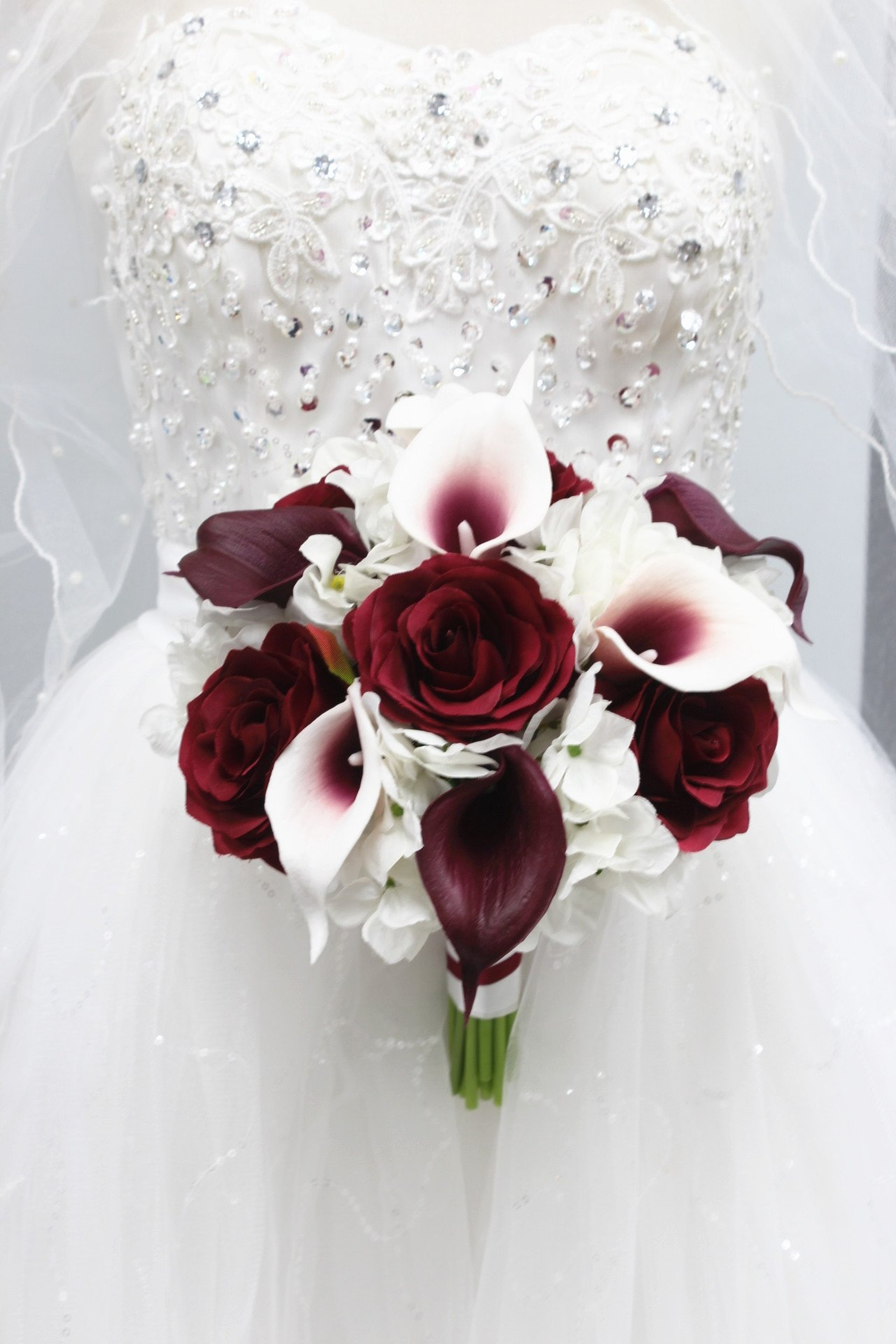 Beautiful Hand-tied bouquet-hydrangea Rose Calla lily-colors in Navy Wine Burgundy Fuchsia Raspberry Mint Spa Coral Turquoise Horizon Blue (White/Wine Burgundy, 9'')