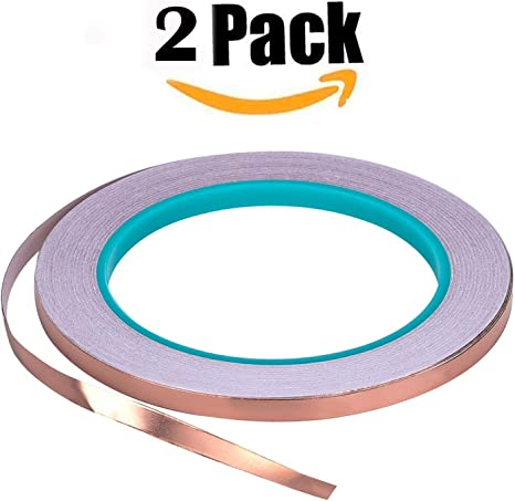 Paper Circuit Stained Glass Copper Foil Tape Pack of 4 Copper Foil Adhesive Tape for Snail Repellent Soldering,1//4 inch Electrical Repair EMI Shielding