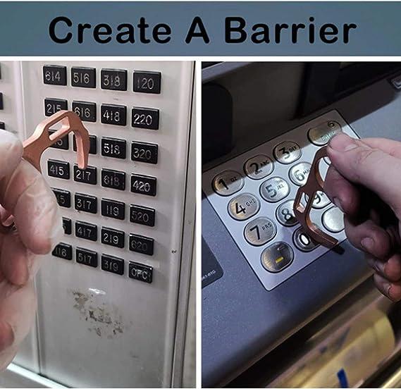 Funique 2 Pi/èces Ouvre-Porte de S/écurit/é sans Contact pour Porte Ascenseur Porte-cl/és en Laiton Poign/ée de Porte Hygi/énique Protection de S/écurite Ouvre-Porte EDC