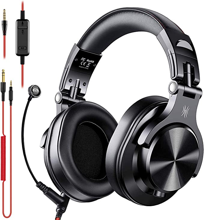 OneOdio A71 Over Ear Headsets with Boom Mic - PS4 PC Wired Stereo Headphones with On-Line Volume & Share-Port Headsets for Gaming Office Phone Call DJ