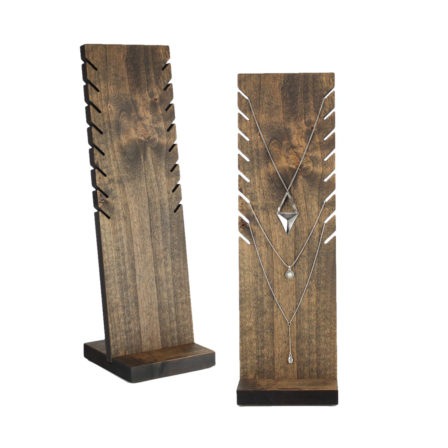 Set of 2 Wood Necklace Display Stands Wood Jewelry Display Stands - 18 inches tall Slotted Solid Hardwood Craft Show Display Retail Display Jewellery Display