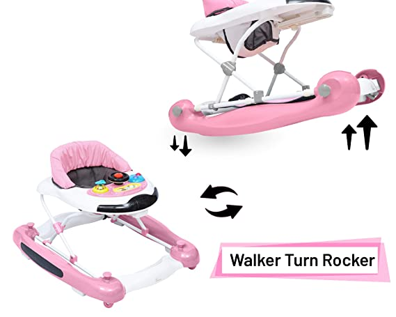 R for Rabbit Ringa Ringa - The Anti Fall and Safe Rocking Baby Walker (Pink White)