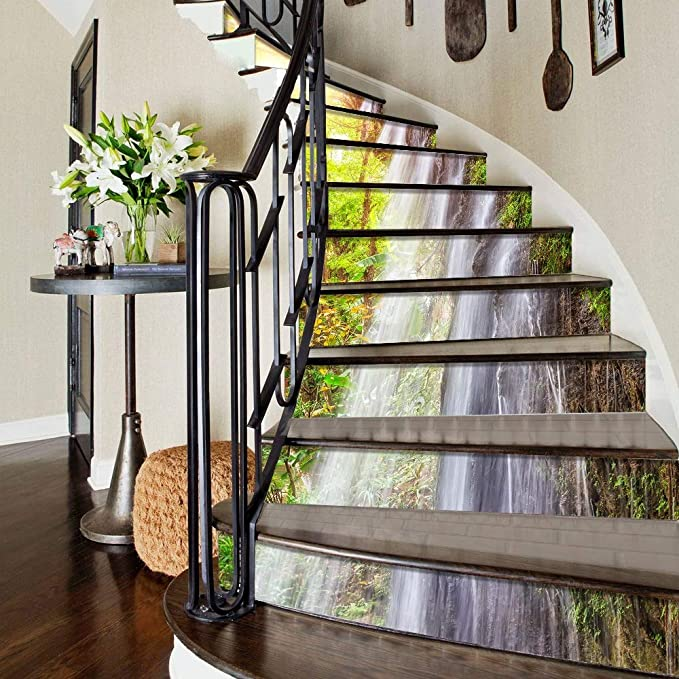 HttKse Escaleras Etiquetas Creativas Cascadas en 3D Paisaje Natural Escaleras Autoadhesivas Elevadores Mural Vinyl Decal Wallpaper Stickers Decor Decals (12 PCS) La decoración del Papel Pintado: Amazon.es: Hogar