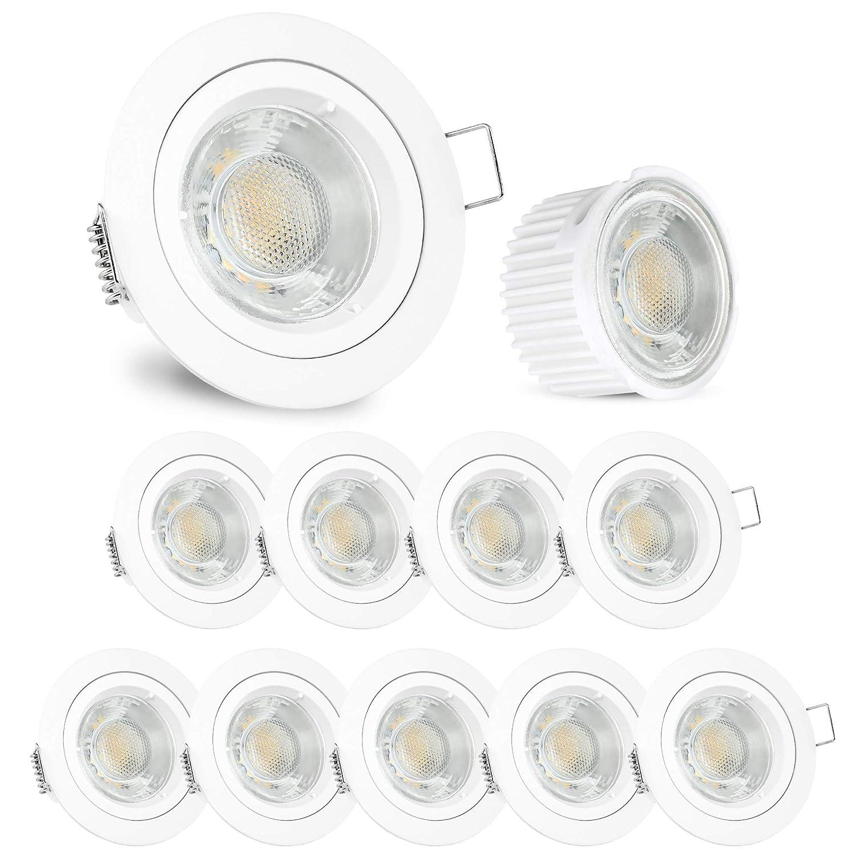 33mm 230V f/ür Einbauleuchten Rahmen als GU10 Ersatz mit 470 Lumen neutralwei/ß 4000K 10x ultra flaches 5W LED Leuchtmittel Modul