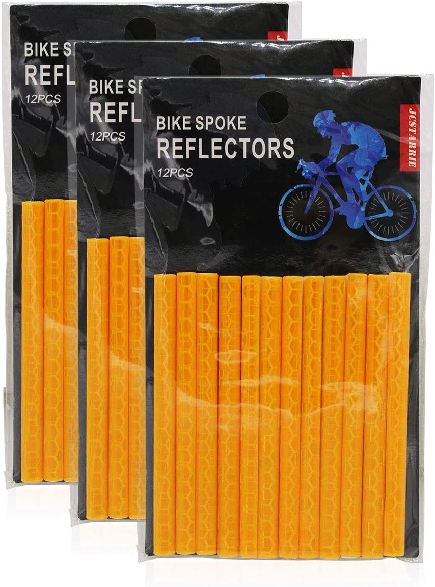 JCstarrie Bike Spoke Reflector Bicycle MTB Cycle Wheel Spoke Reflectors Clip Tube for Kids Adult Bike Easy Mount 36PC