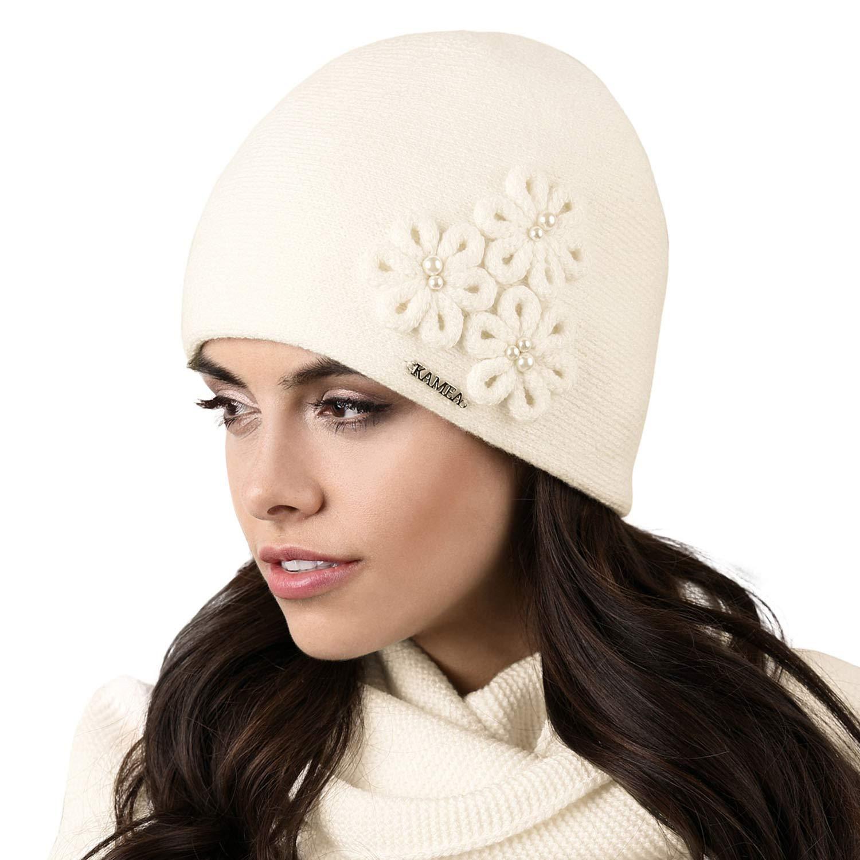 Kamea Corato Dame Mütze Kopfbedeckung Winter Herbst Dunkelblau Uni